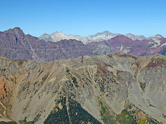 Pyramid Peak, Snowmass Mtn and Capitol Peak from Electric Pass